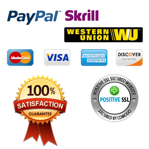 Paypal, Skrill, MasterCard, Visa, 100% Satisfaction Guarantee, SSL Certificate